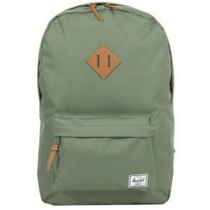 Herschel Sac à dos Heritage deep lichen green/tan pebbled leather Pas Cher