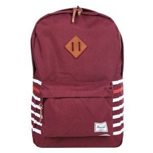 Herschel Sac à dos Heritage Offset windsor wine offset stripe/veggie tan leather Pas Cher