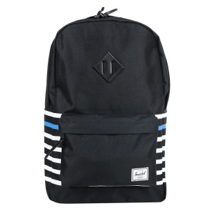 Herschel Sac à dos Heritage Offset black offset stripe/black veggie tan leather [ Promotion Black Friday 2020 Soldes ]