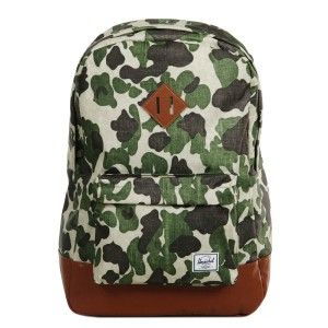Herschel Sac à dos Heritage frog camo/tan synthetic leather Pas Cher