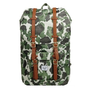 Herschel Sac à dos Little America frog camo/tan synthetic leather Pas Cher