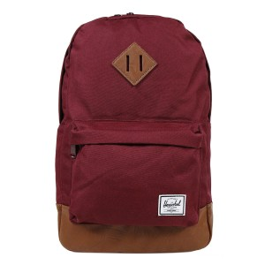 Herschel Sac à dos Heritage Mid Volume windsor wine/tan synthetic leather Pas Cher