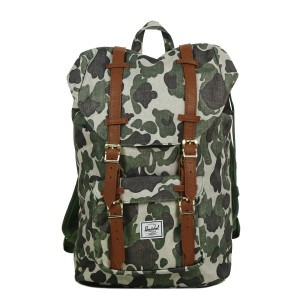 Herschel Sac à dos Little America Mid Volume frog camo/tan synthetic leather Pas Cher