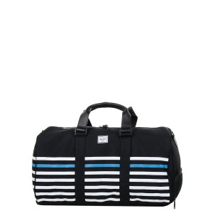 Herschel Sac de voyage Novel Offset 52 cm black offset stripe/black veggie tan leather Pas Cher