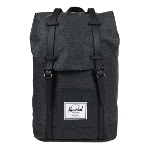 Herschel Sac à dos Retreat black crosshatch/black rubber [ Soldes ]