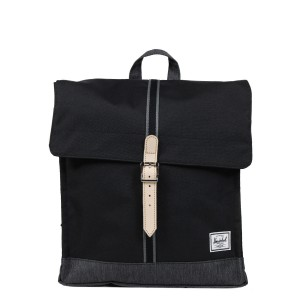Herschel Sac à dos City Mid-Volume Offset black/black denim [ Soldes ]
