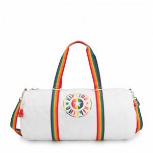 Kipling Grand Sac Polochon avec Poche Intérieure Zippée Rainbow White [ Soldes ]