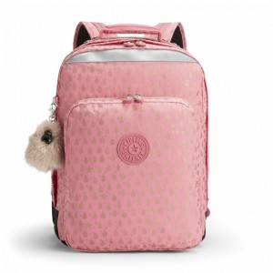 Kipling Grand Sac à Dos Avec Protection Pour Ordinateur Portable Pink Gold Drop [ Soldes ]