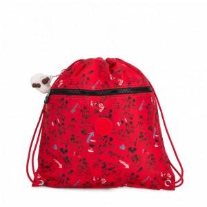 Kipling Sac moyen avec cordon de serrage Sketch Red Pas Cher