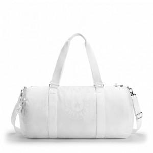 Kipling Grand Sac Polochon avec Poche Intérieure Zippée Lively White Pas Cher