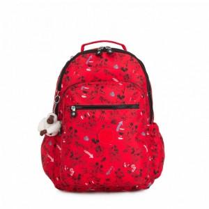 Kipling Grand sac à dos avec protection pour laptop Sketch Red Pas Cher